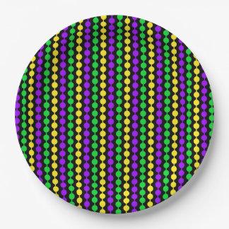 Mardi Gras Green, Yellow, Purple Beads on Black Paper Plate