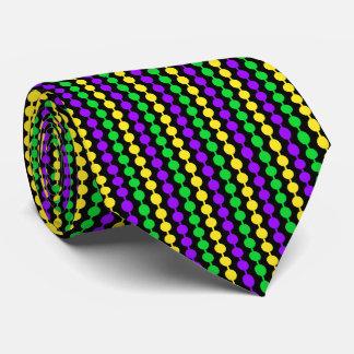 Mardi Gras Green, Yellow, Purple Beads on Black Tie