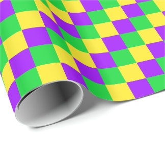 Mardi Gras Green, Yellow, Purple Checked Wrapping Paper