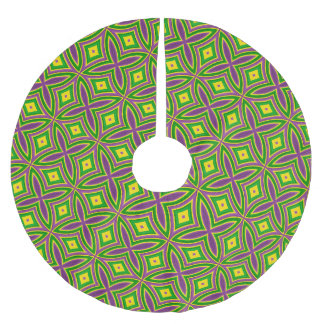Mardi Gras Green Yellow Purple Pattern Brushed Polyester Tree Skirt
