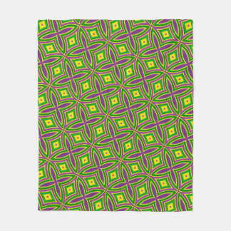 Mardi Gras Green Yellow Purple Pattern Fleece Blanket