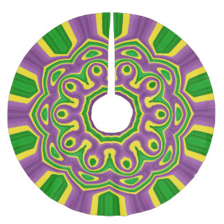 Mardi Gras Green Yellow Purple Pattern Mandala Brushed Polyester Tree Skirt