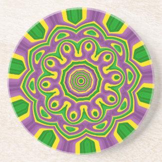 Mardi Gras Green Yellow Purple Pattern Mandala Coaster