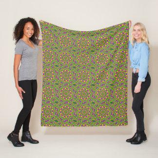 Mardi Gras Green Yellow Purple Pattern Mandala Fleece Blanket