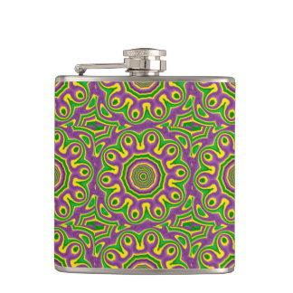 Mardi Gras Green Yellow Purple Pattern Mandala Hip Flask