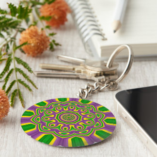 Mardi Gras Green Yellow Purple Pattern Mandala Key Ring