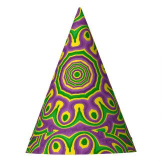 Mardi Gras Green Yellow Purple Pattern Mandala Party Hat