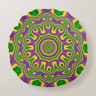 Mardi Gras Green Yellow Purple Pattern Mandala Round Cushion