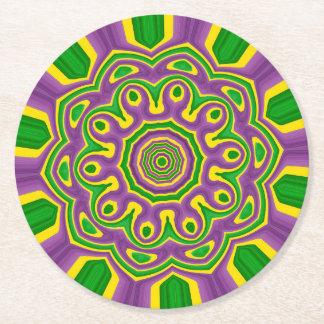 Mardi Gras Green Yellow Purple Pattern Mandala Round Paper Coaster
