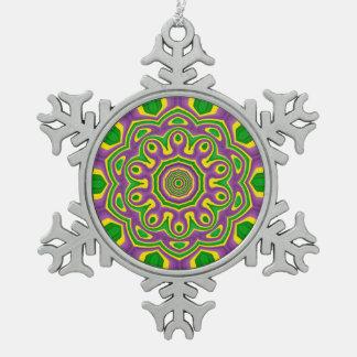 Mardi Gras Green Yellow Purple Pattern Mandala Snowflake Pewter Christmas Ornament
