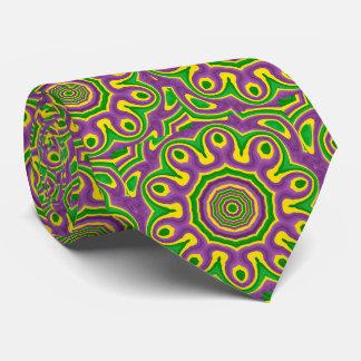 Mardi Gras Green Yellow Purple Pattern Mandala Tie