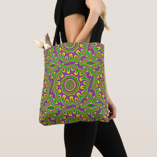 Mardi Gras Green Yellow Purple Pattern Mandala Tote Bag