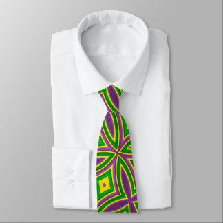 Mardi Gras Green Yellow Purple Pattern Tie