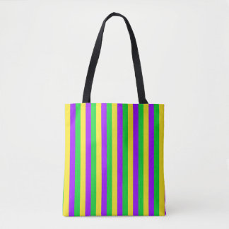 Mardi Gras Green, Yellow, Purple Stripe Tote Bag