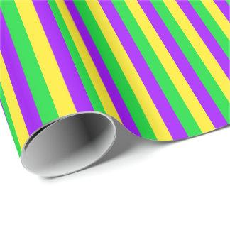 Mardi Gras Green, Yellow, Purple Stripes Wrapping Paper