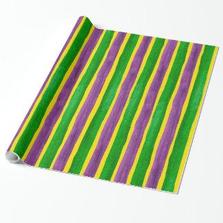 Mardi Gras Hand Painted Purple Green Gold Stripes
