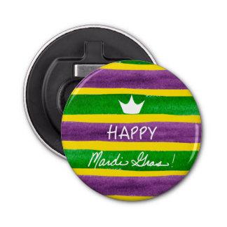 Mardi Gras Hand Painted Purple Green Gold Stripes Bottle Opener