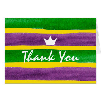 Mardi Gras Hand Painted Purple Green Gold Stripes Card