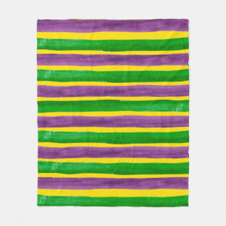 Mardi Gras Hand Painted Purple Green Gold Stripes Fleece Blanket