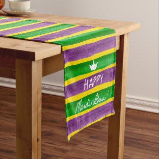 Mardi Gras Hand Painted Purple Green Gold Stripes Medium Table Runner
