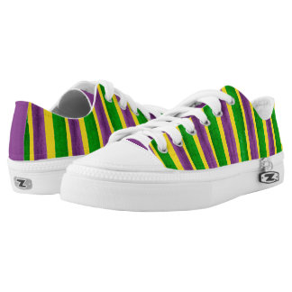 Mardi Gras Hand Painted Purple Green Gold Stripes Printed Shoes