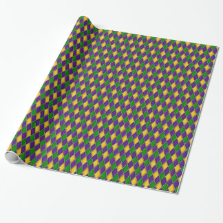 Mardi Gras Harlequin Diamond Design Wrapping Paper