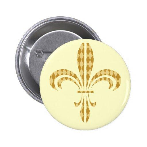 Mardi Gras Harlequin Fleur De Lis Pinback Button
