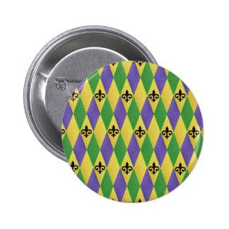 Mardi Gras Harlequin Fleur De Lis Buttons