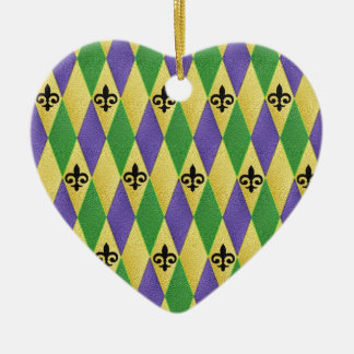 Mardi Gras Harlequin Fleur De Lis Ceramic Heart Decoration