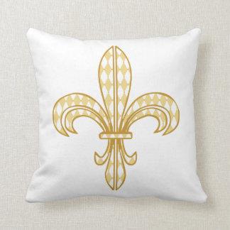 Mardi Gras Harlequin Fleur De Lis Throw Pillow