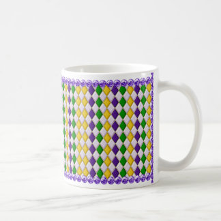 Mardi Gras Harlequin Pattern Mug w/Purple Beads