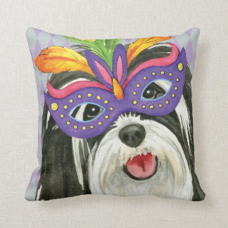 Mardi Gras Havanese Throw Pillow