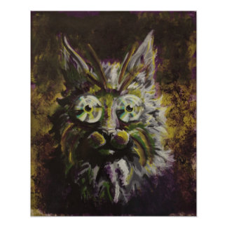 Mardi Gras - Hypnotic Cat Pop Surrealism Poster