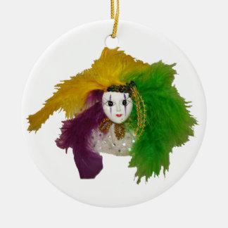 Mardi Gras Indian Mask Ceramic Ornament