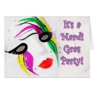 Mardi Gras Invitation White Mask