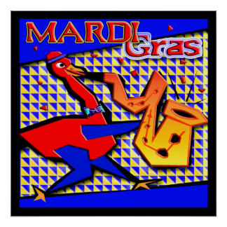 Mardi Gras Jazz Duck Poster
