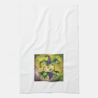 Mardi Gras Jester Kitty small version Tea Towel