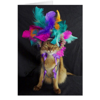 Mardi Gras Kitteh Greeting Card, Envelope Included Card