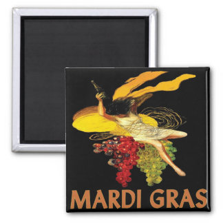 Mardi Gras Maid with Grapes Square Magnet