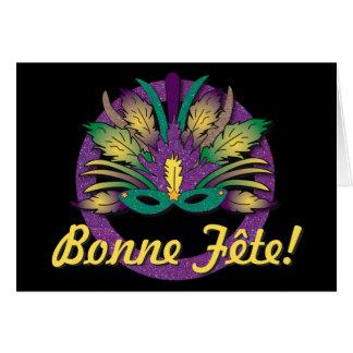 Mardi Gras Mask Birthday - French Canadian Card