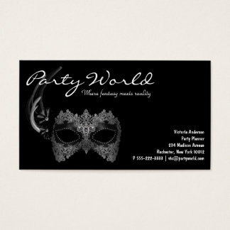 Mardi Gras Mask Black Business Cards