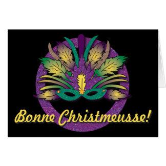 Mardi Gras Mask Christmas - Cajun French Card