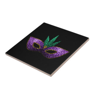 Mardi Gras Mask Purple Green Gold Sparkles Ceramic Tile