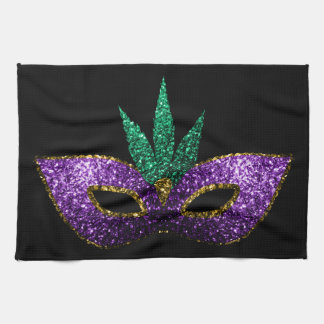 Mardi Gras Mask Purple Green Gold Sparkles Tea Towel
