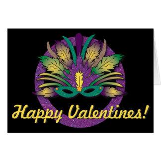 Mardi Gras Mask Valentines Card