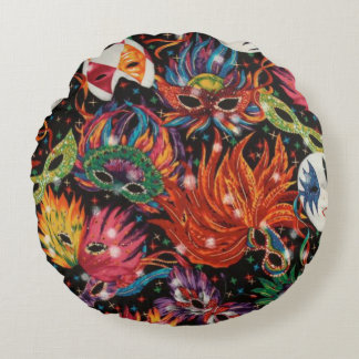 Mardi Gras Masks 2 Round Cushion