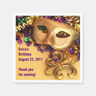 Mardi Gras Masks and Beads Paper Napkins Disposable Serviette