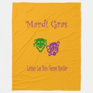 Mardi Gras Masks Rouler Fleece Blanket