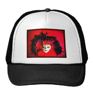 MARDI GRAS MASQUE BLACK AND RED RELIEF HATS
