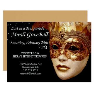 Mardi Gras Masquerade Ball Party Invitation